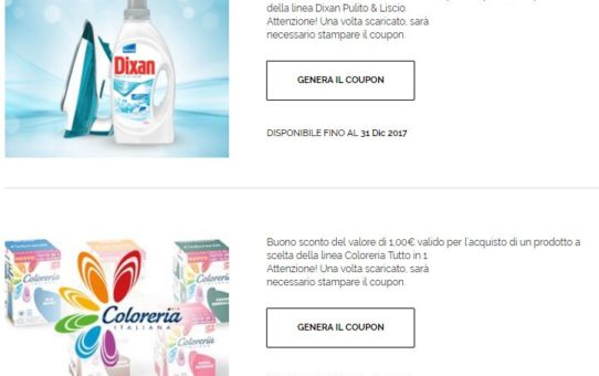 € 1 Coupon sconto DIXAN e COLORERIA