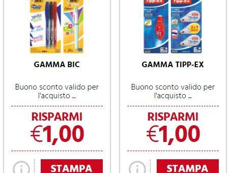 € 1 Buoni sconto su gamma BIC e TIPP-EX per il ritorno a scuola